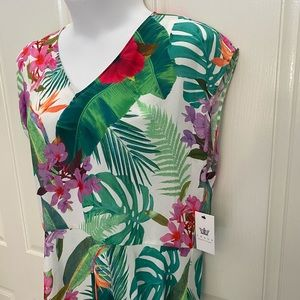 NEW wTag-CHAUS Tropical Sheer Cap Sleeve Shirt XL